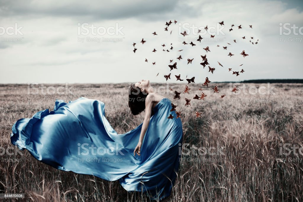 Woman with butterfly stock photo