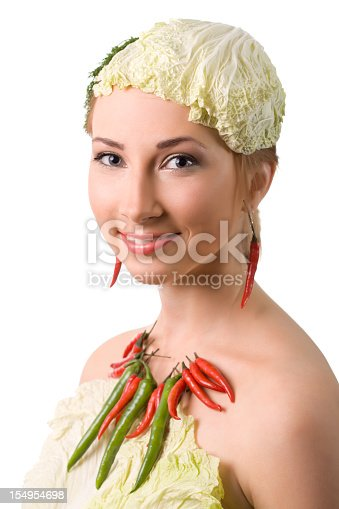 Beautiful woman with vegetable, see more:
