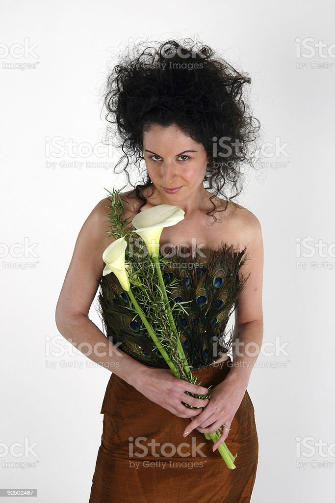 Woman with Calla Lilies royalty-free stock photo