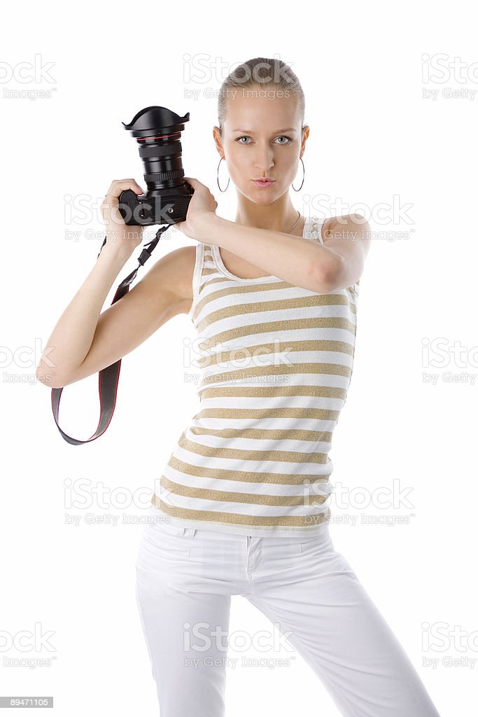 woman with camera royalty-free stock photo