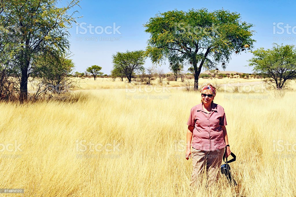 Woman with camera standing amongst golden grasses ,Namibia stock photo