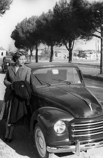 Woman with Car,1938.Black And White stock photo