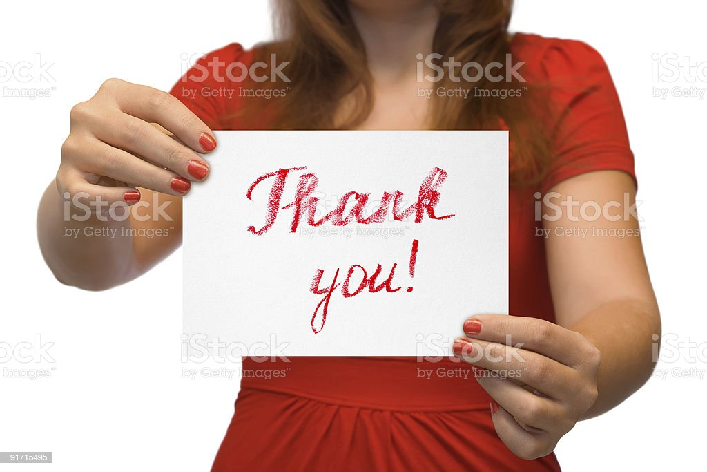 Woman with card Thank You royalty-free stock photo