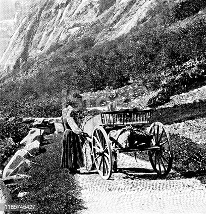 Woman with a cart on an old mountain road in Hordaland, Norway. Vintage halftone photo circa late 19th century.