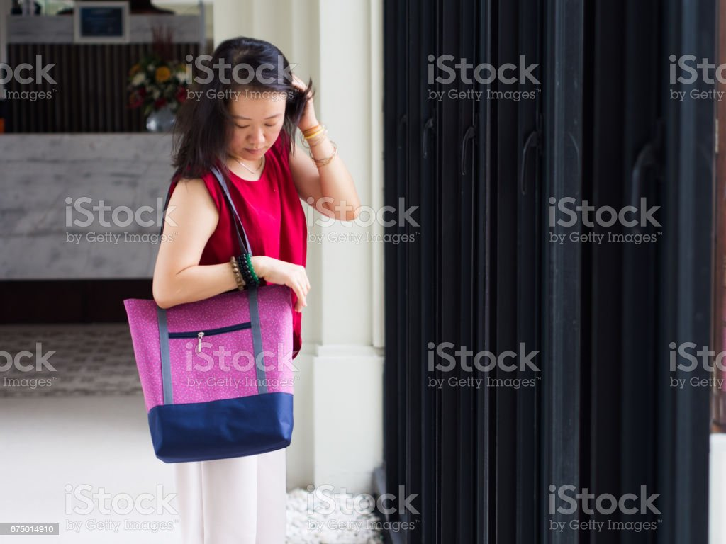 Woman with casual tote bag stock photo