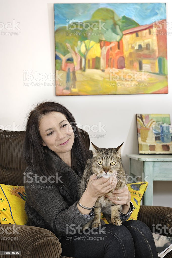 ** Background painting is by model PR attached\'\' Woman with cat in...