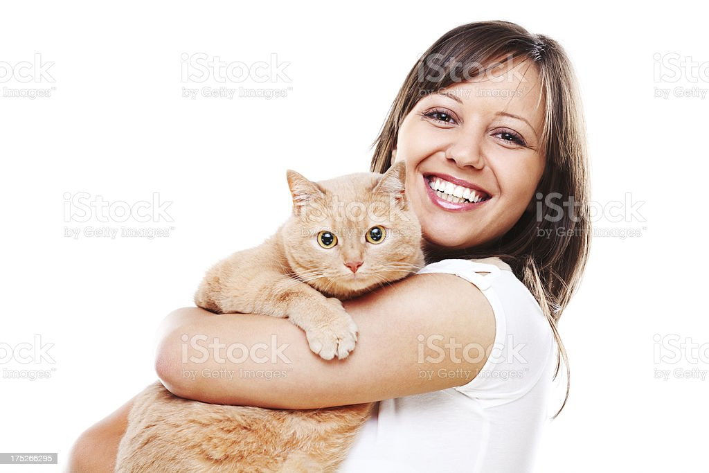 Woman with cat royalty-free stock photo