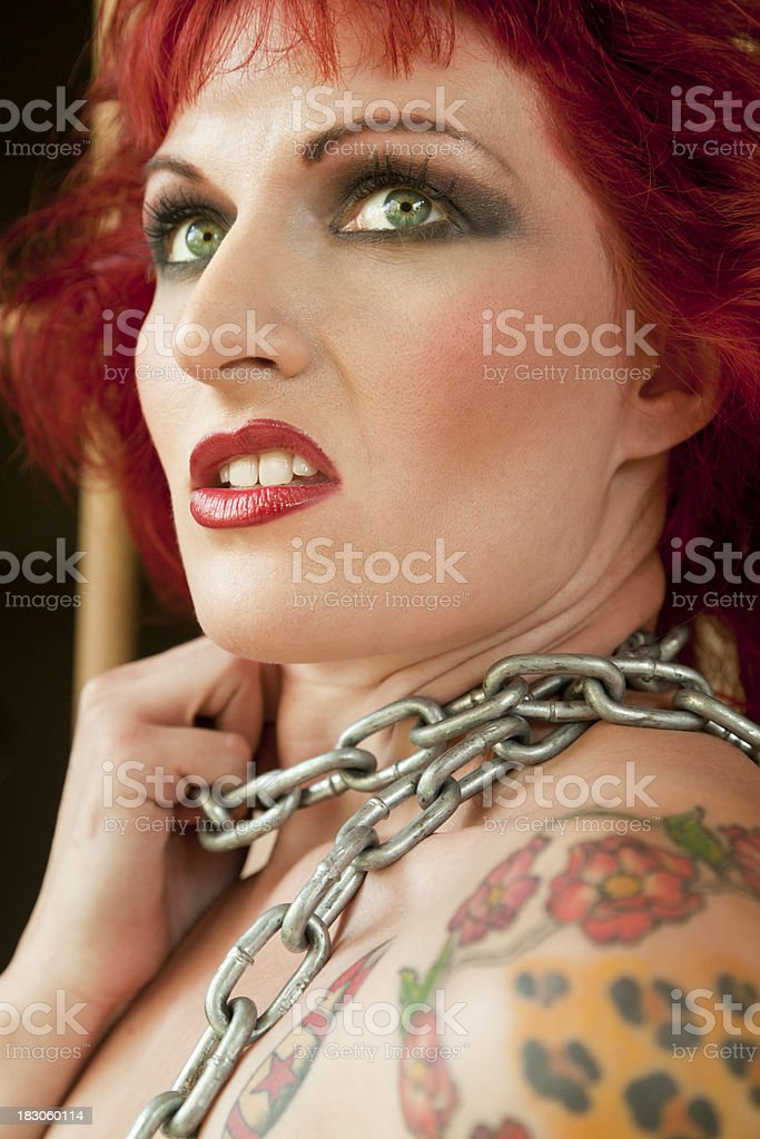Woman With Chain Around Neck, Distraught, Fearful, Uncomfortable royalty-free stock photo