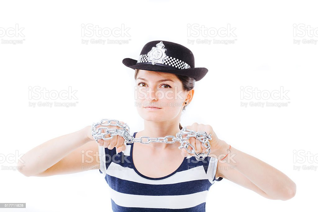 Woman with chains stock photo