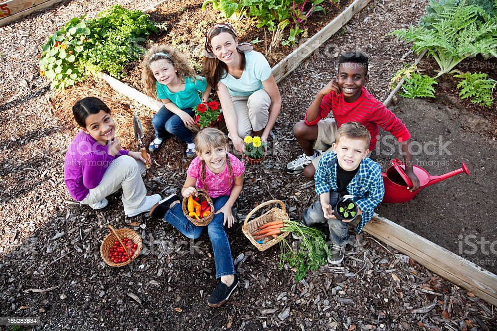 Woman with children in community garden royalty-free stock photo