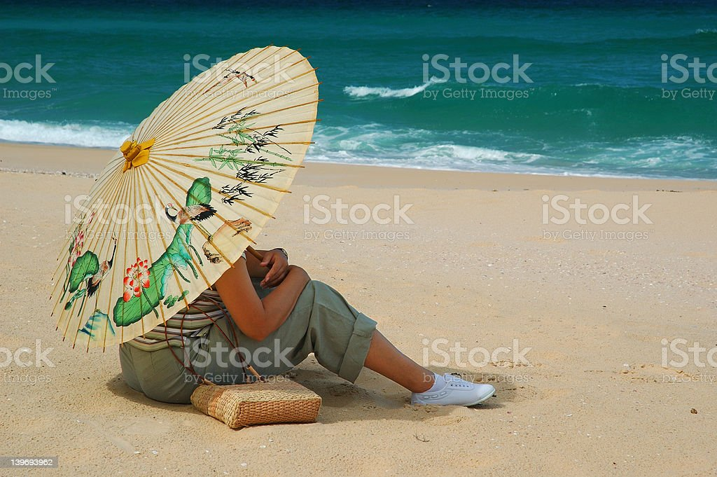 Woman with chinese umbrella stock photo