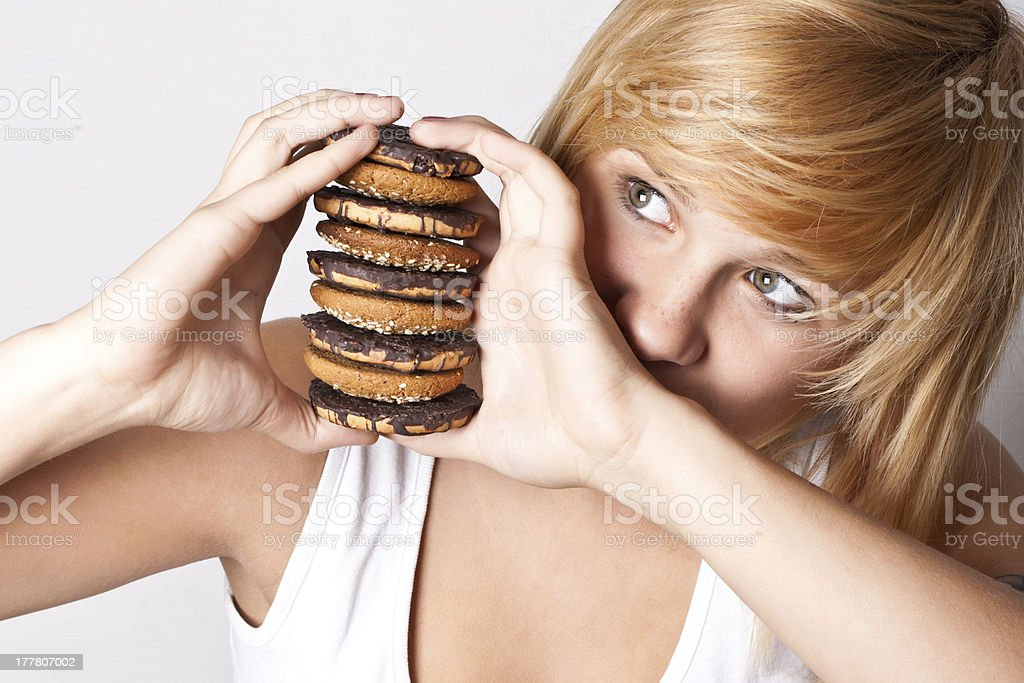 woman with chocolate chip cookies royalty-free stock photo