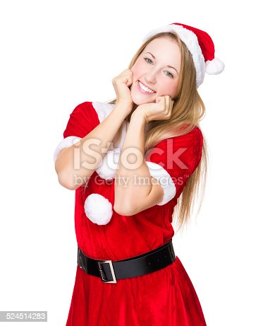 istock Woman with christmas and funny expression 524514283