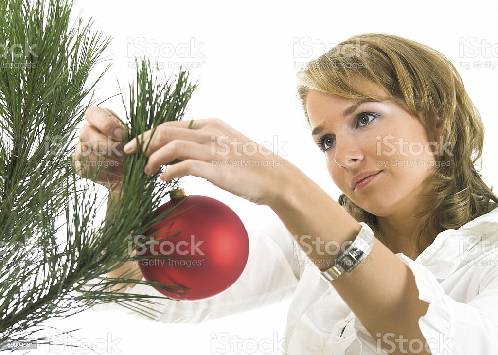 woman with christmas ball royalty-free stock photo