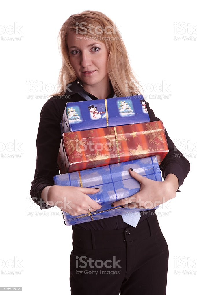Woman with Christmas gifts royalty-free stock photo
