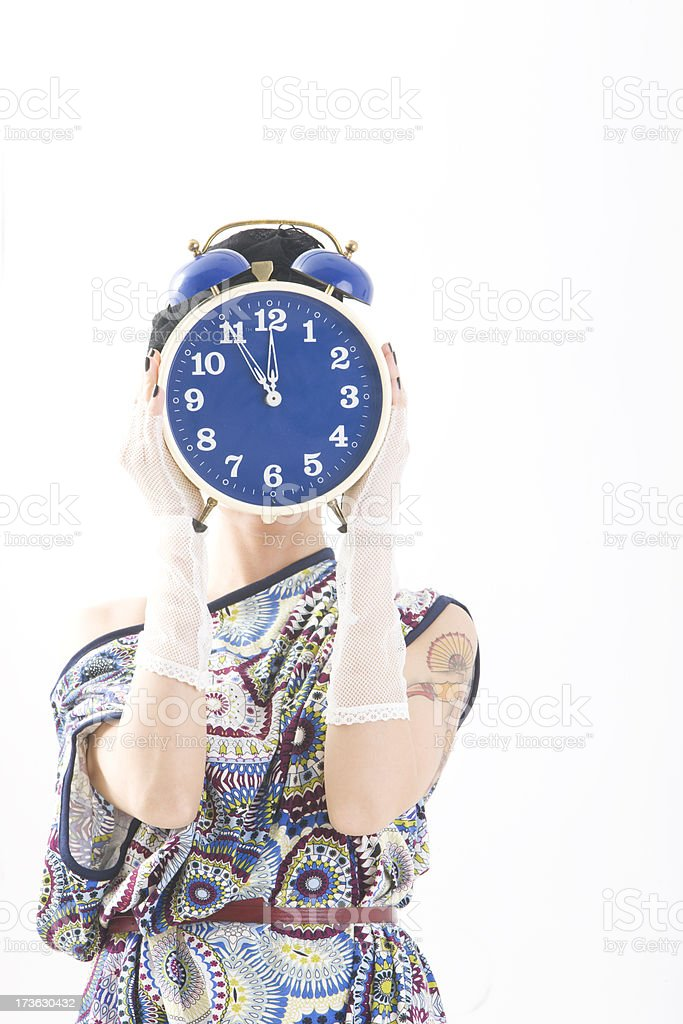 Woman with clock royalty-free stock photo