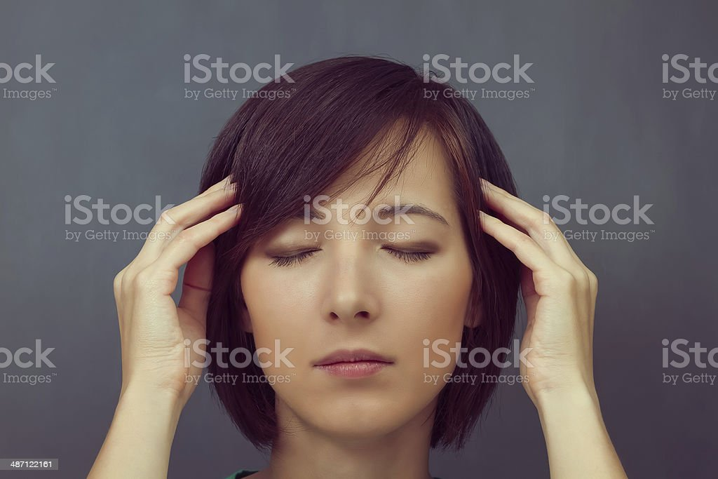 Woman with closed eyes stock photo