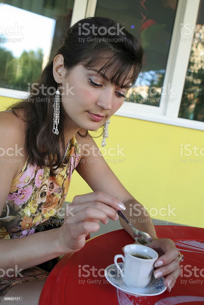 Woman with coffee cup. stock photo