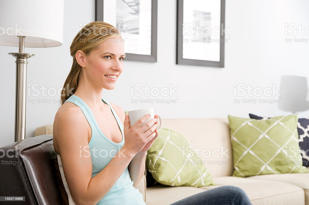 Woman with coffee mug royalty-free stock photo