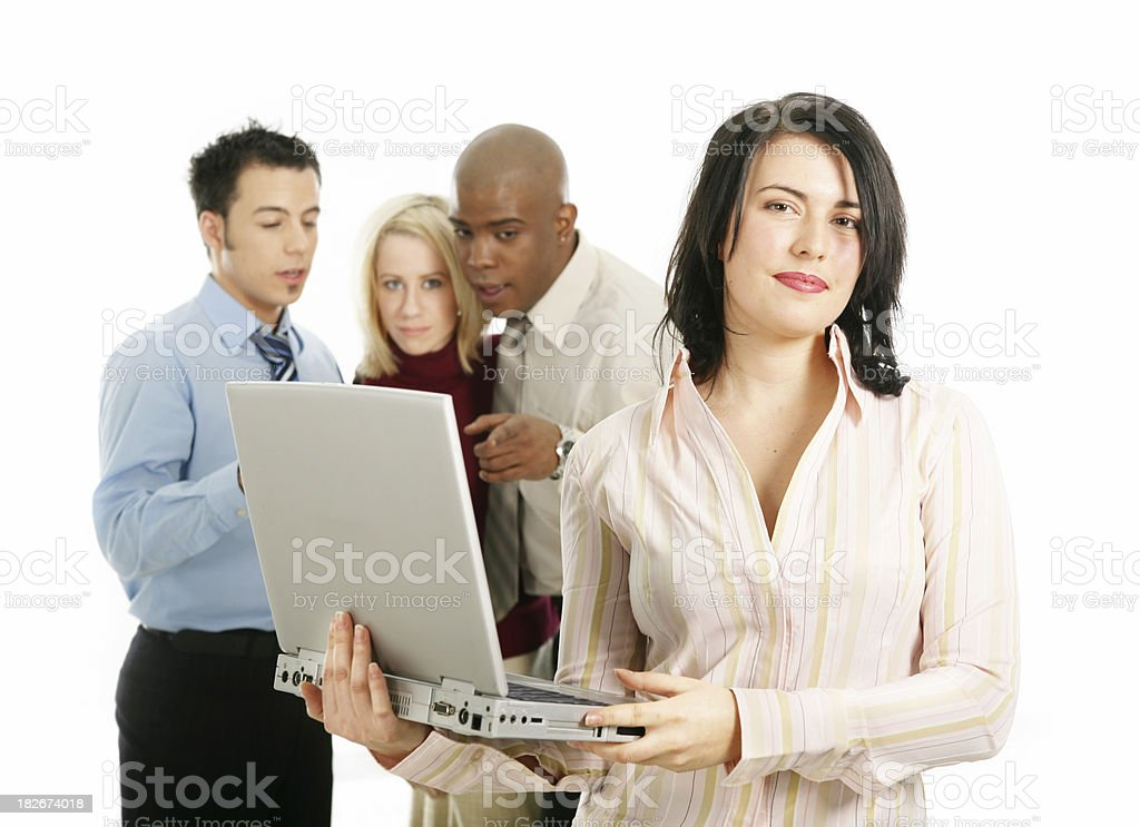 Woman with colleagues royalty-free stock photo