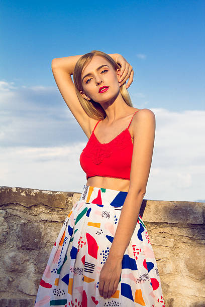 woman with colorful skirt - rock make up stock-fotos und bilder