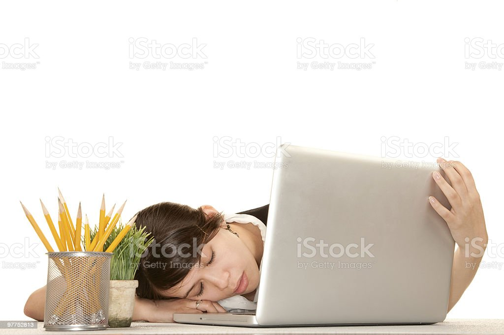 Woman with computer royalty-free stock photo
