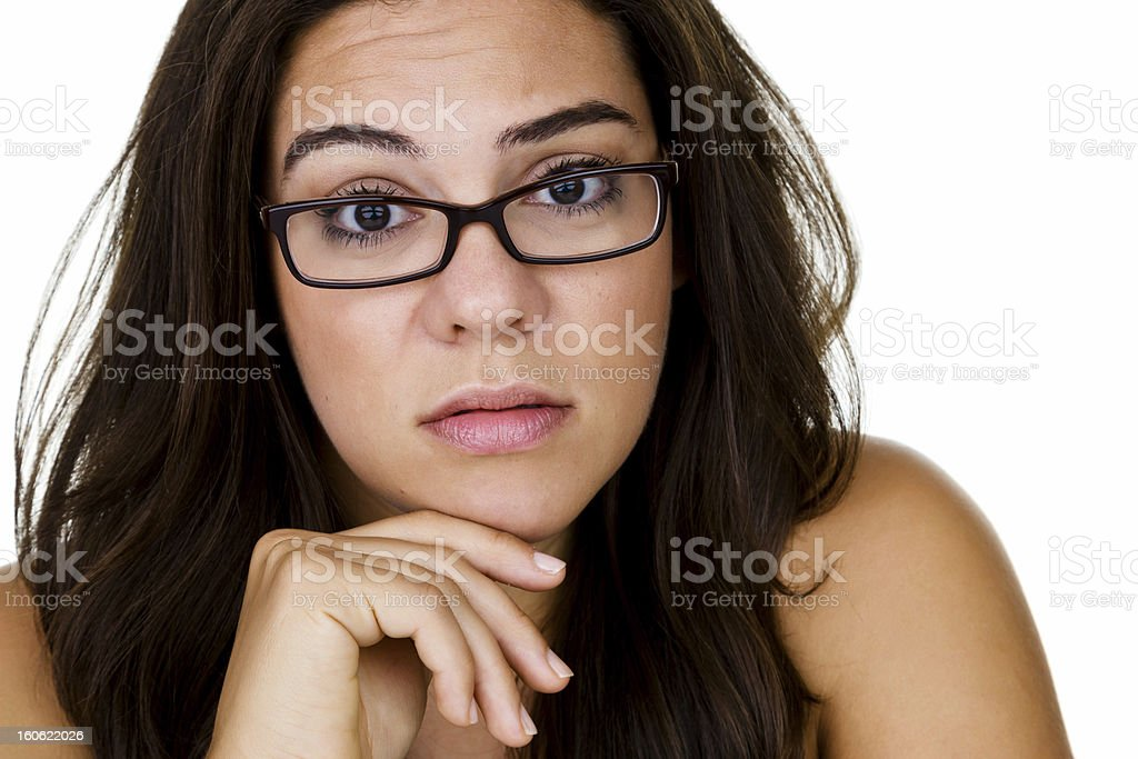 Woman with concerned expression royalty-free stock photo