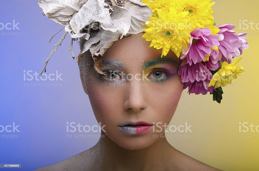 Woman with contrasting visage stock photo