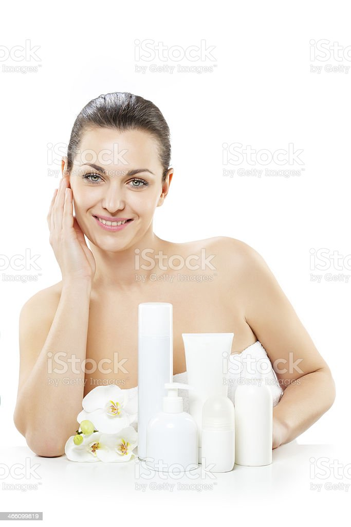 woman with cosmetics royalty-free stock photo