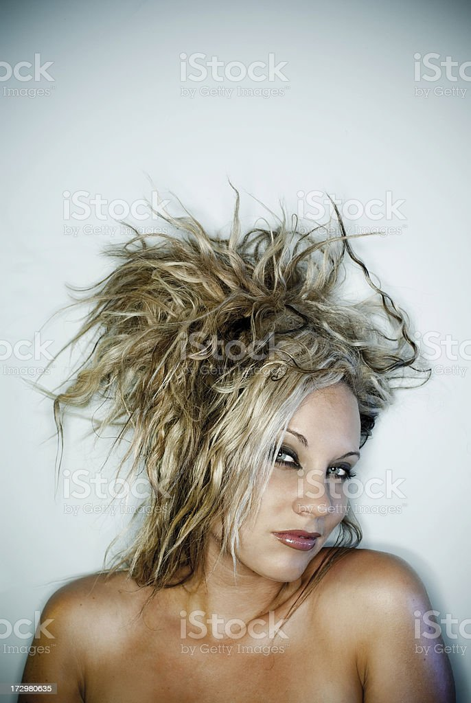 woman with crazy hair royalty-free stock photo