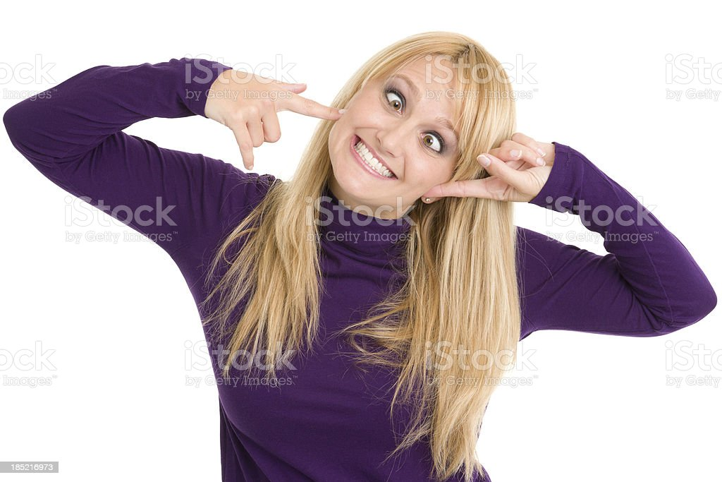 Woman With Crazy Smile stock photo