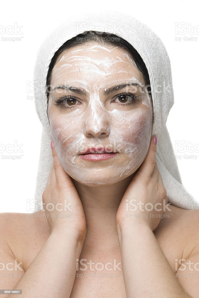 Woman with cream mask at daily spa royalty-free stock photo