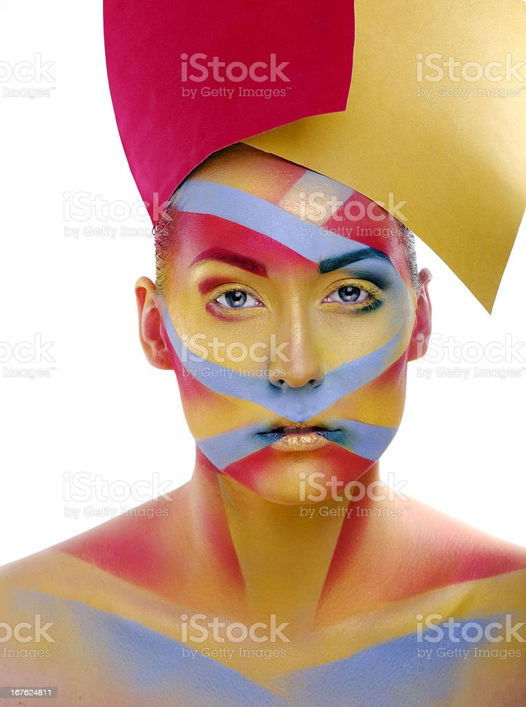 woman with creative geometry make up royalty-free stock photo