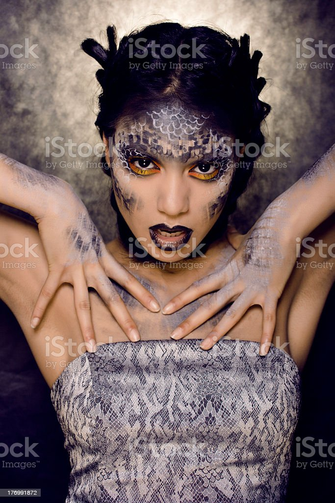 woman with creative make up like a snake royalty-free stock photo