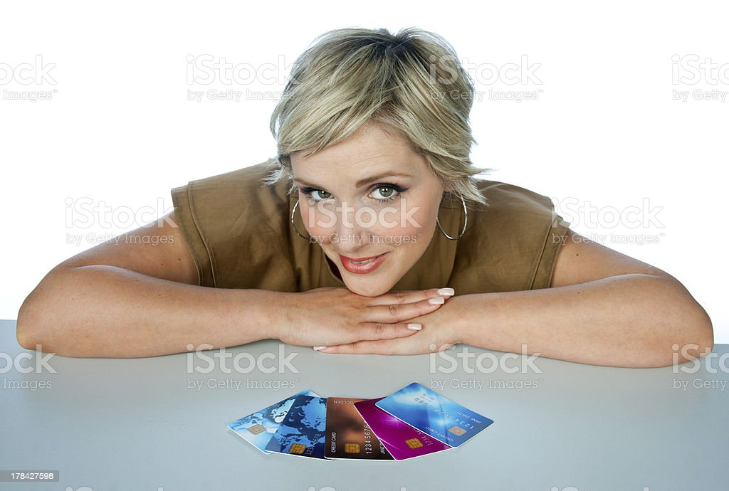 woman with credit cards royalty-free stock photo