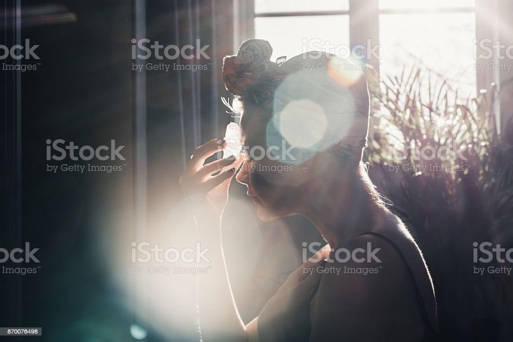 Woman with crystal new age meditation healing stock photo