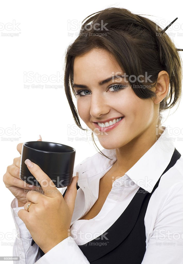 Woman with cup of coffee, isolated royalty-free stock photo