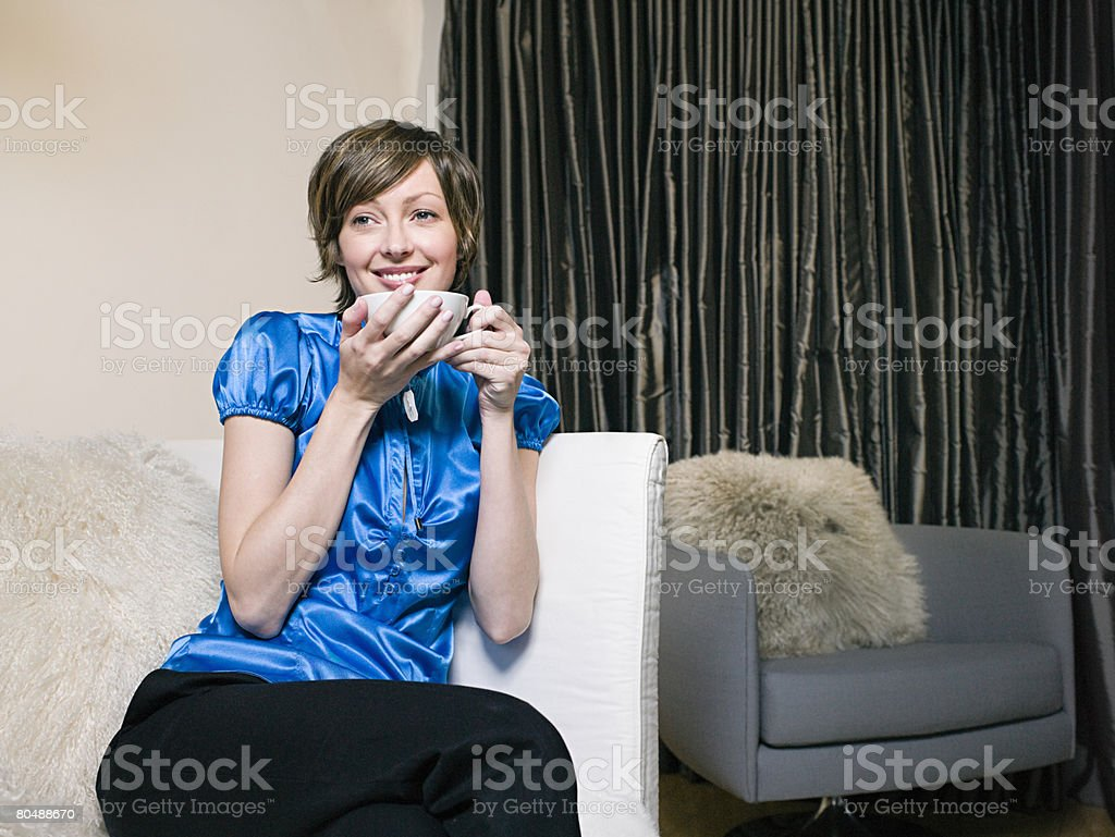 Woman with cup of coffee royalty-free stock photo