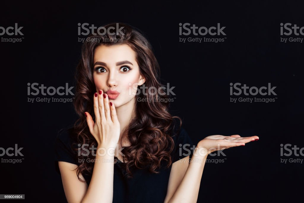 Woman with curly brown hair represents an imaginary product