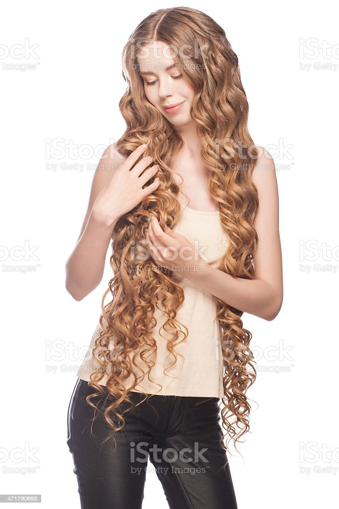 Woman with Curly Long Hair royalty-free stock photo