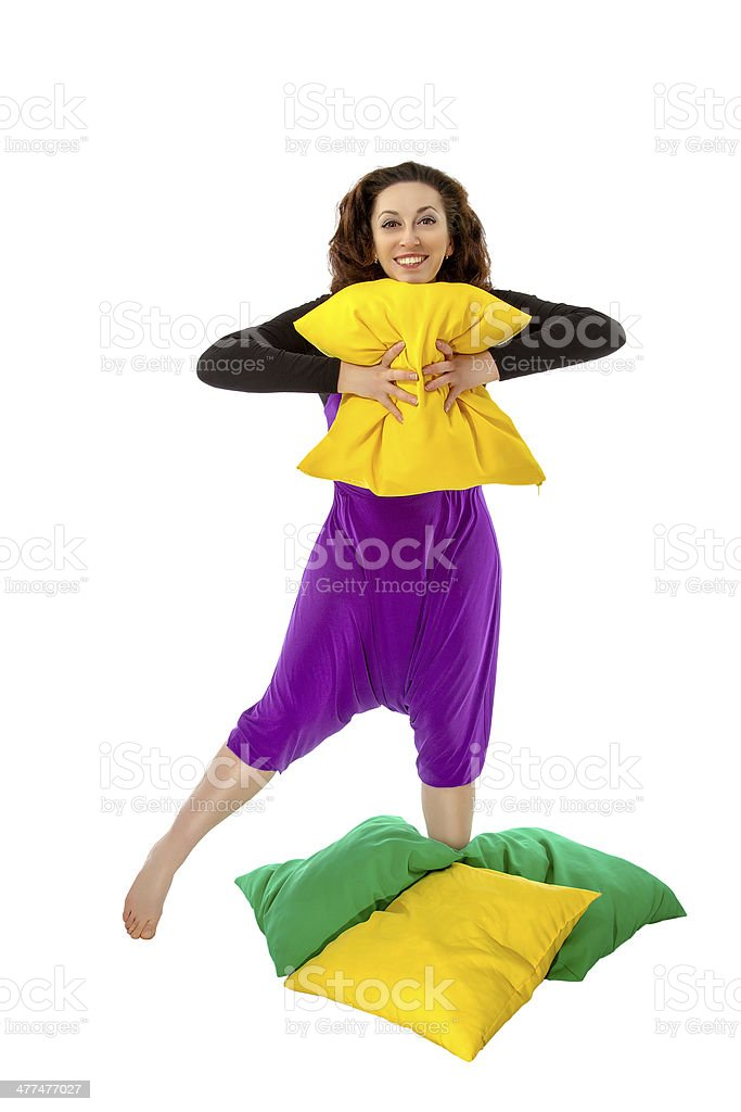woman with cushions on a white background stock photo