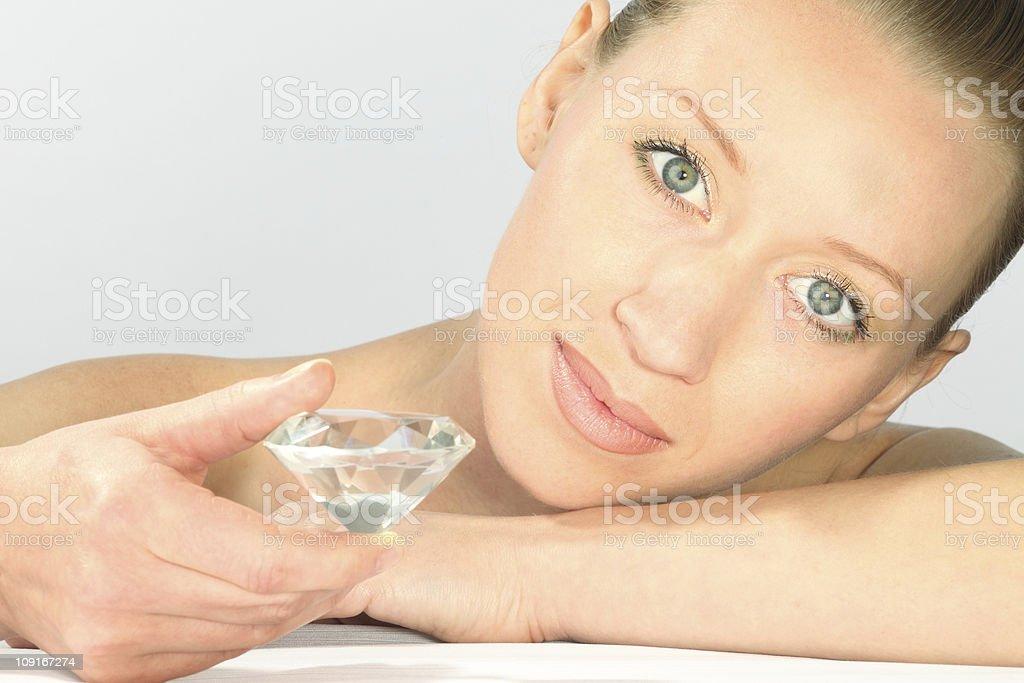 woman with diamond royalty-free stock photo