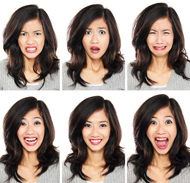 woman with different facial expression - frowning stock photos and pictures