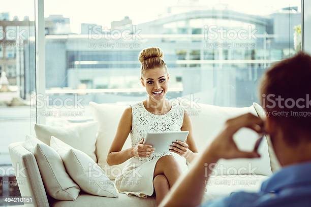 Woman With Digital Tablet Stock Photo - Download Image Now
