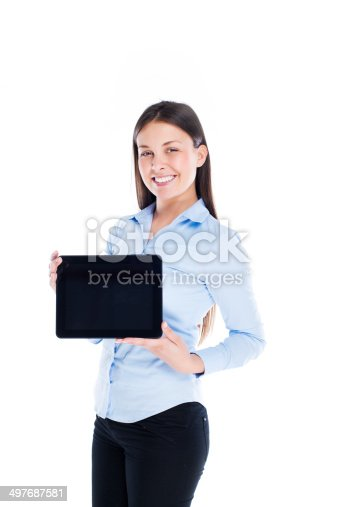 610677352istockphoto Woman with digital tablet 497687581