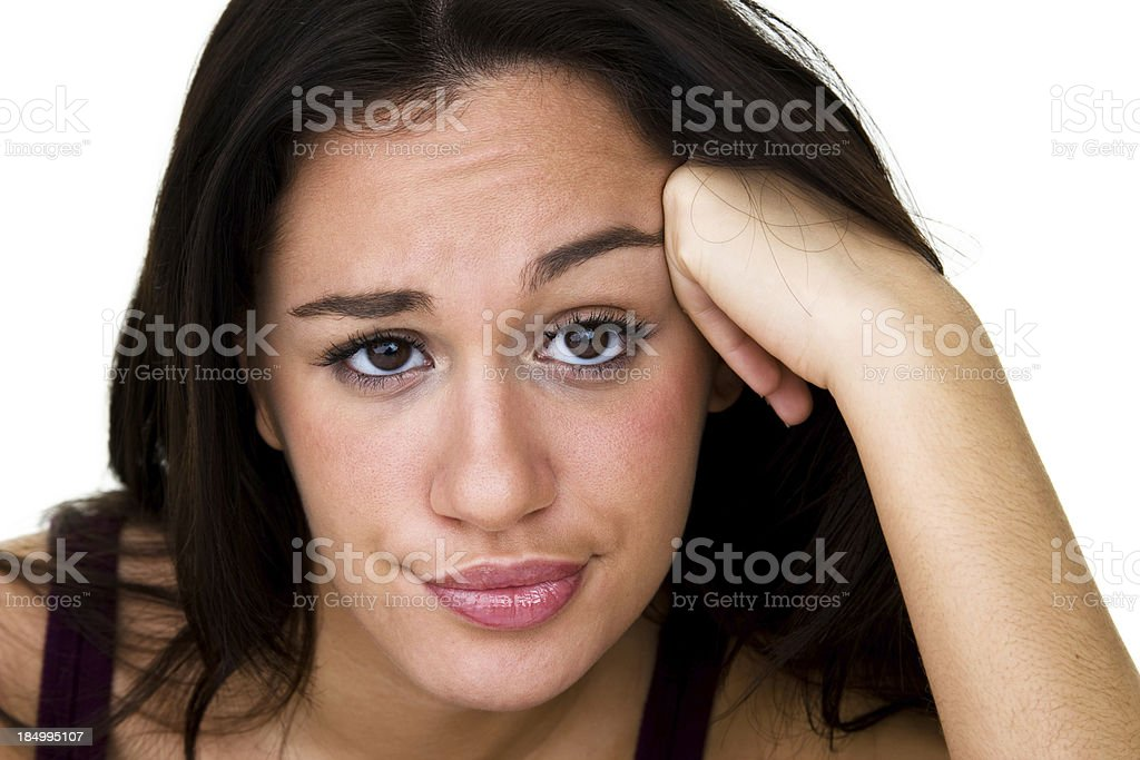 Woman with disapproving expression stock photo