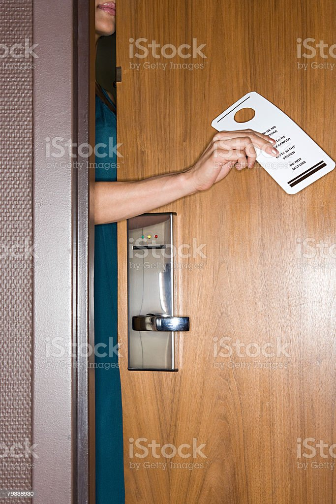 Woman with do not disturb sign royalty-free 스톡 사진