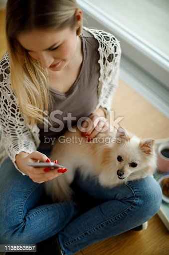 483426960istockphoto Woman with dog and mobile phone sitting on the floor 1138653857