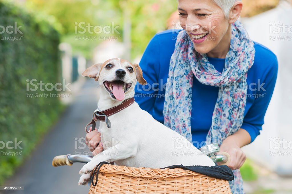 Woman with dog at the city stock photo