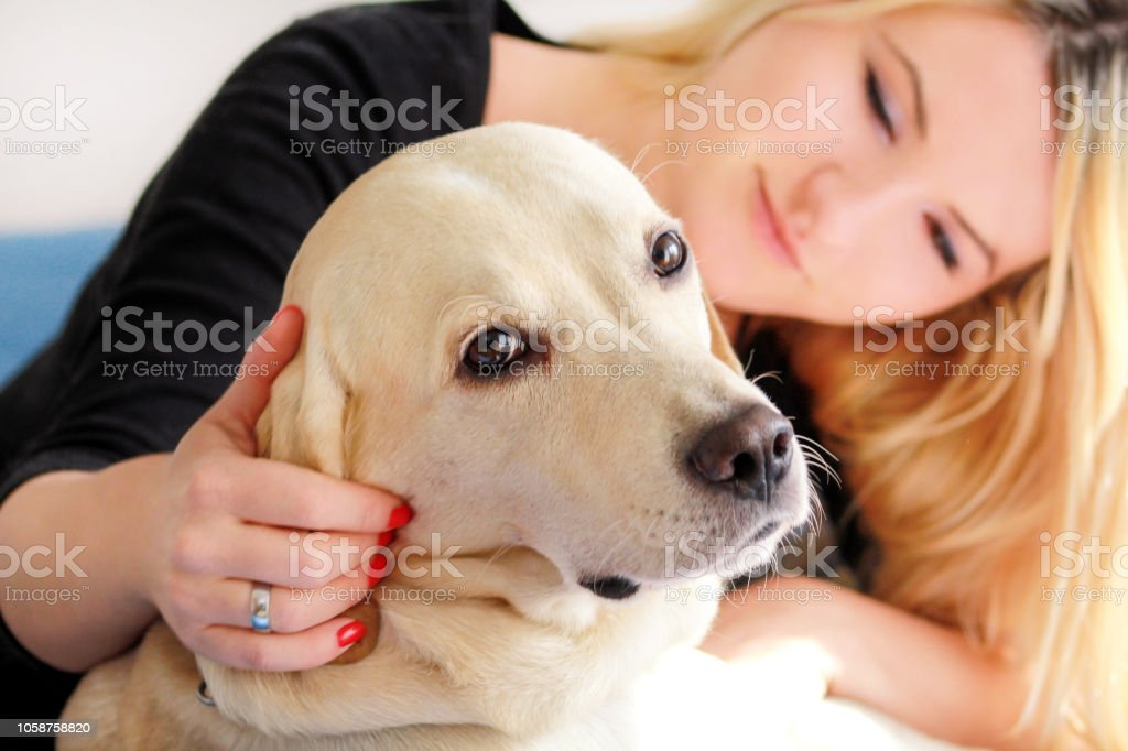Woman with dog is resting in bed at home, relaxing in bedroom. Girl...